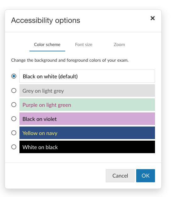 BetterExaminations Colour Scheme Accessibility Feature
