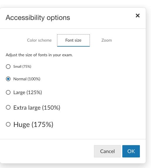 Betterexaminations Accessibilty Font Size
