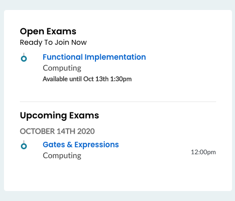 Open and Upcoming Exams on Dashboard