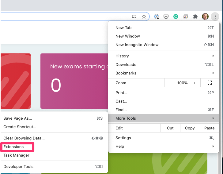 Open Extensions in Chrome