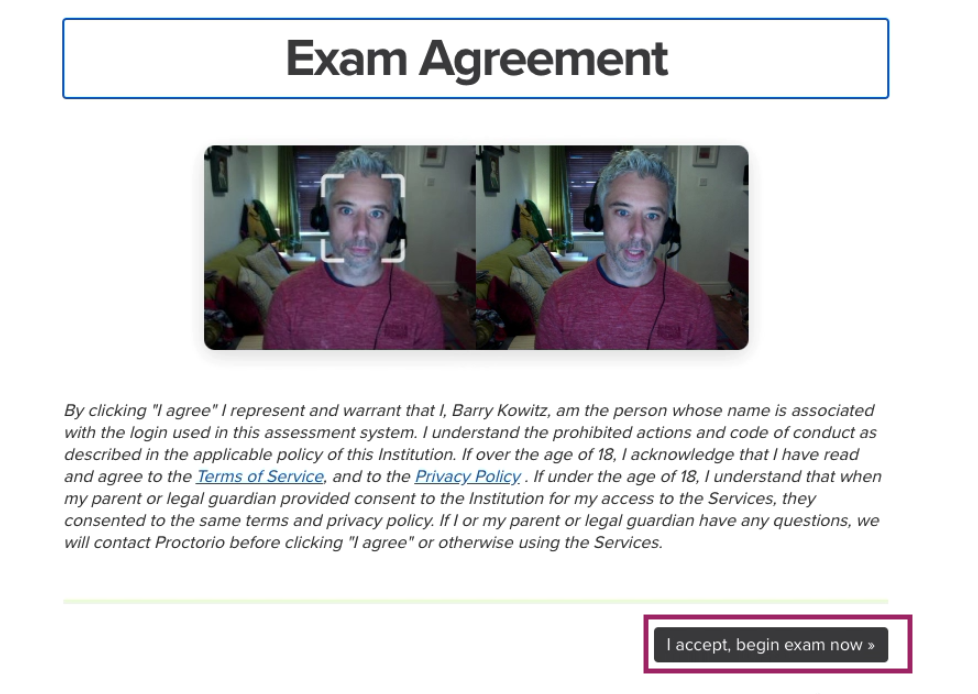Accept proctoring exam agreement screen