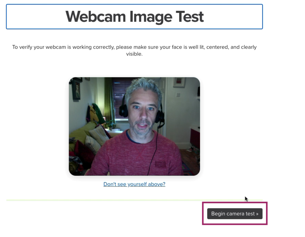 Begin Proctoring Camera Test screen