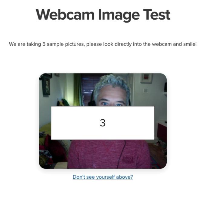 Begin Proctoring Camera Test Countdown