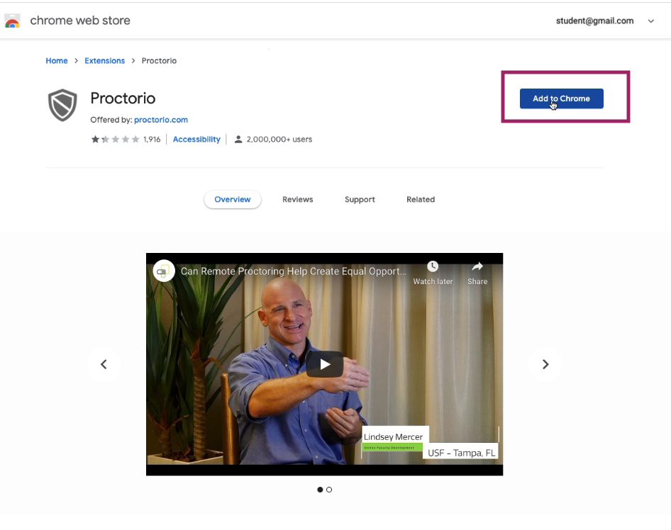 Installing Proctoring Extension from Chrome Web Store