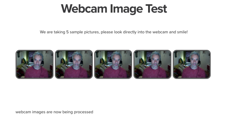 The proctoring camera test sample pictures