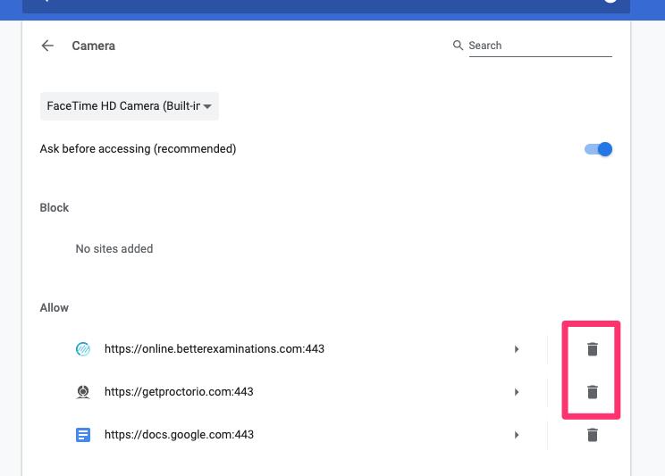 Remove Chrome Camera Permissions