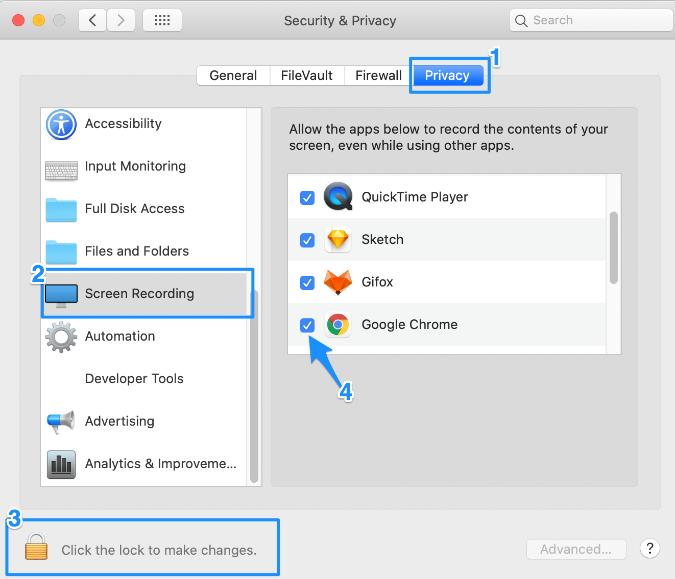 Screen share setting for Google Chrome for Macs